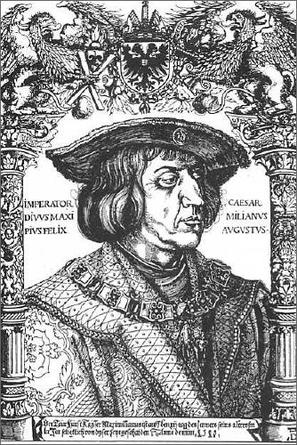 Kaiser Maximilian I. auf einem Holzschnitt von Albrecht Dürer (1518)