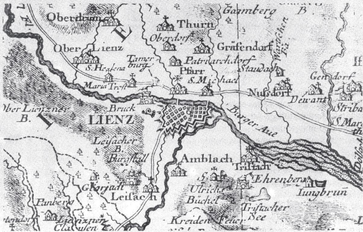 Ausschnitt aus der Tirolkarte von Peter Anich und Blasius Hueber (1774)