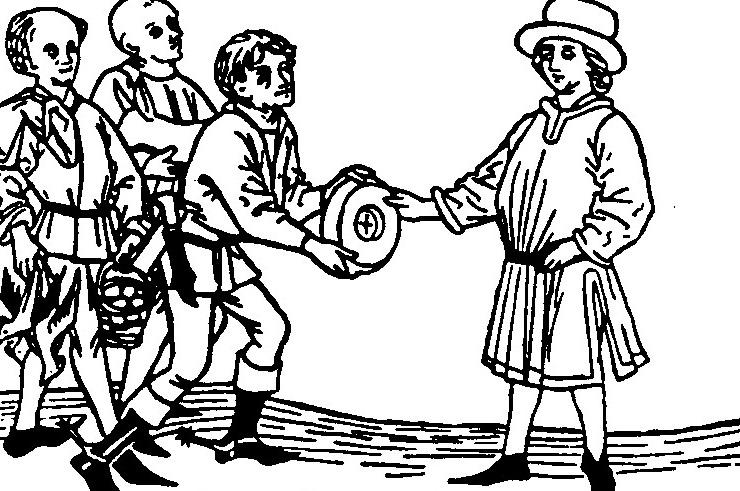 Auf dieser Darstellung (um 1447) entrichten Bauern ihrem Grundherrn den Zins in Form von Naturalien - Käse, Eier, Geflügel und ein Lamm