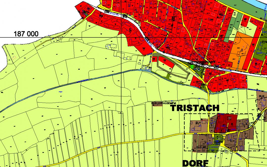 Kundmachung: Änderung Flächenwidmungsplan im Bereich der Grundstücke Gp.827/1, 827/6, 827/7, 827/8, 827/14 u. 827/2 alle KG Tristach