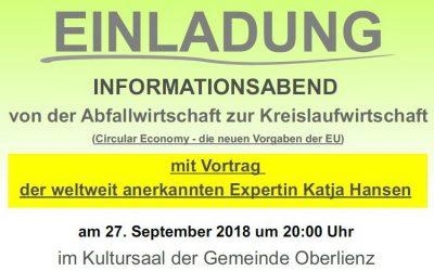 """Vortrag mit Katja Hansen: """"Von der Abfallwirtschaft zur Kreislaufwirtschaft"""""""